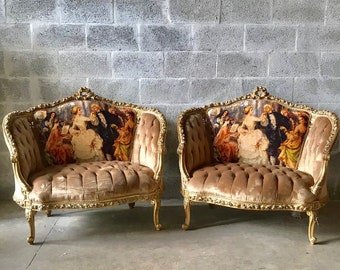 SOLD* French Chair Louis XVI Corbeille Furniture Tufted Velvet French Tufted Chair Refinish Gold Leaf New Padding tufted Interior Design
