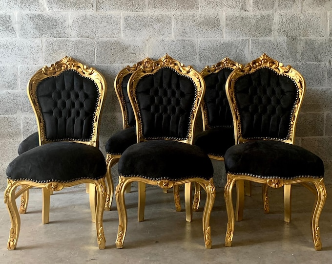 Featured listing image: Black Vintage Chair French Chair Vintage Furniture Interior Designer *6 Chairs Available Baroque Furniture Rococo Vintage Sofa French Settee
