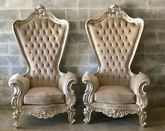 "Italian Baroque Throne Chair HighBack 74""H Silver Chair Tufted Beige Cream Beige Velvet French Rococo Interior Design"