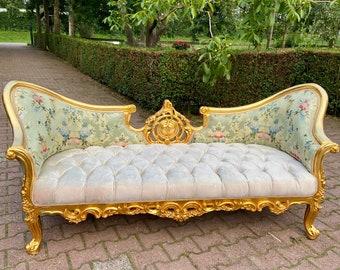 French Sofa Interior Design French Louis XVI New Upholstery Green Vintage Sofa Vintage Furniture Baroque Sofa Rococo Furniture