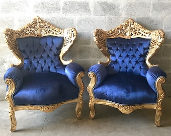 BaroqueThrone Furniture Bergere Chair Royal Blue *3 Piece Avail* Gold Leaf Gild French Chair Louis XVI French Furniture Antique Chair