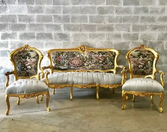 French Chair Antique French Settee *3 Piece Set* Vintage Furniture Tufted Chair French Tufted Settee Refinish New Fabric Interior Design