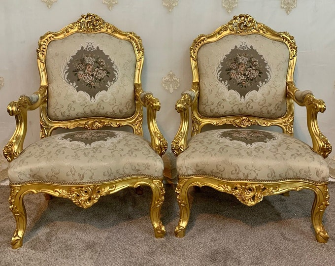 Featured listing image: Vintage Chair French Chair Vintage Furniture Settee Interior Designer *3 Piece Available Baroque Furniture Rococo Vintage Sofa French Settee