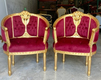 Vintage Chair French Chair Vintage Furniture Vintage Settee Interior Designer *3 Piece Set Avail* Baroque Furniture Rococo Corbeille Chairs