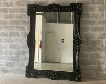 "French Mirror Black Lacquer *1 Left in Stock* Interior Design Baroque Mirror French Furniture 5.5""FT x 7.5""FT Rococo Black Mirror Vintage"