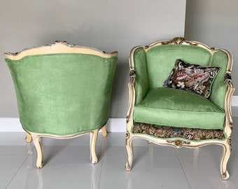 French Chair Vintage Corbeille *2 Available* Vintage Furniture Green Apple Chair French Interior Design Includes Pillow