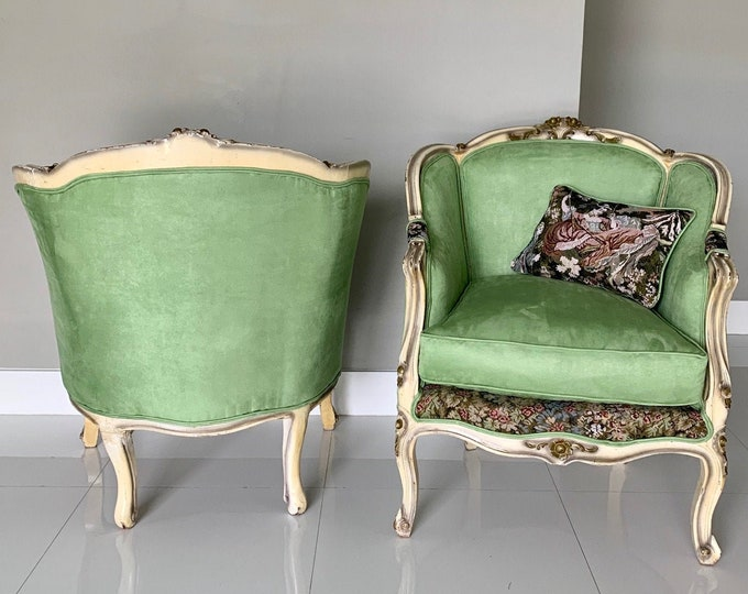 Featured listing image: French Chair Vintage Corbeille *2 Available* Vintage Furniture Green Apple Chair French Interior Design Includes Pillow