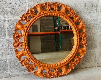 "French Mirror Vintage 31"" x 31"" Oval Mirror Orange French Louis XVI Mirror Vintage Furniture Baroque Mirror Rococo Interior Design"