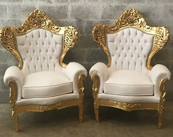SOLD* Italian Antique Furniture Chair Rococo Tufted Settee Tufted Chair White Leather Baroque Furniture Gold Throne Chair Tufted