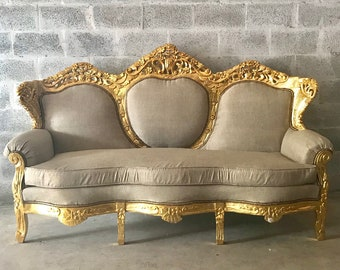 French Settee French Sofa Furniture Antique Furniture French Gold Leaf New Padding Interior Design Baroque Sofa Furniture Rococo Sofa