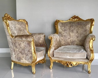 Rococo Throne French Chair Antique Furniture Gold Leaf Velvet Crocodile Alligator Texture Fabric French Louis XVI Baroque Interior Design