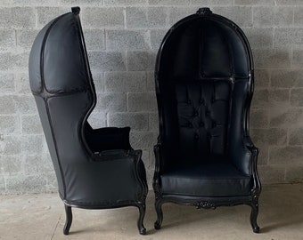 French Balloon Chair Throne Chair *2 Available* Reproduction Black Leather Chair Tufted Black Frame French Rococo Interior Design
