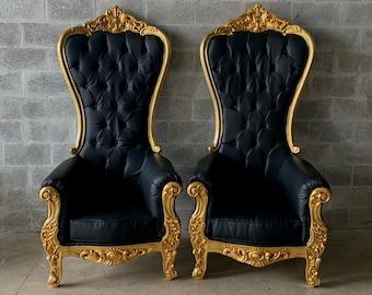 Black Throne Chair Black Leather Chair *4 Available* French Chair Throne Black Leather Chair Tufted Gold Throne Chair Rococo Vintage Chair