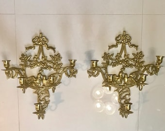 "Sconces LARGE 17""H x 14""W Sconces (1 Pair) Interior Design Large Sconces Brass Sconce Vintage Sconces"