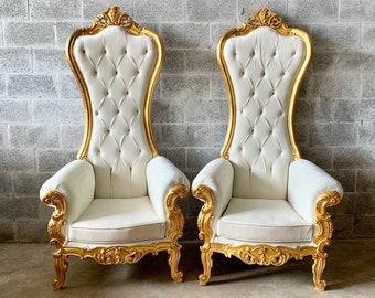 Ivory Throne Chair Off-White Velvet Chair 2 Avail French Chair Throne Ivory Velvet Chair Tufted Gold Throne Chair Rococo Interior Design