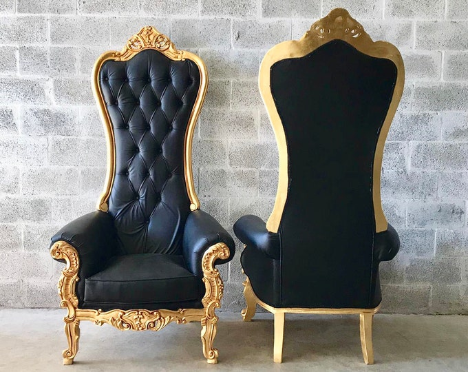 Featured listing image: Black Throne Chair Black Leather Chair *2 Available* French Chair Throne Black Leather Chair Tufted Gold Throne Chair Rococo Interior Design