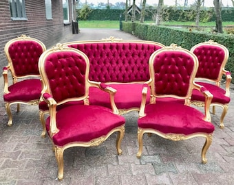 French Chair Red French Settee *5 Piece set* French Sofa French Furniture Baroque Settee Tufted Chair Gold Leaf Baroque Furniture Rococo