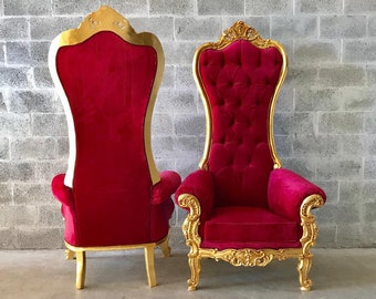 Red Throne Chair Red Chair *2 Available* French Chair Throne Red Velvet Chair Tufted Gold Throne Chair Rococo Interior Design