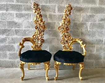 "Italian Baroque Throne Chair High Back Reproduction 64"" Tall Tufted Chair French Furniture French Chair Rococo Furniture Interior Design"