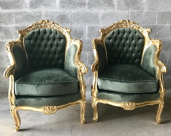 French Furniture Antique Chair French Settee *2 Chairs left* Green Velvet Tufted Settee Baroque Gold Settee Rococo Furniture French Chair