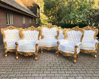 Italian Rococo French Furniture French Vintage Chair *5 Piece Set* Vintage Furniture Interior Design Baroque Furniture Rococo French Chair