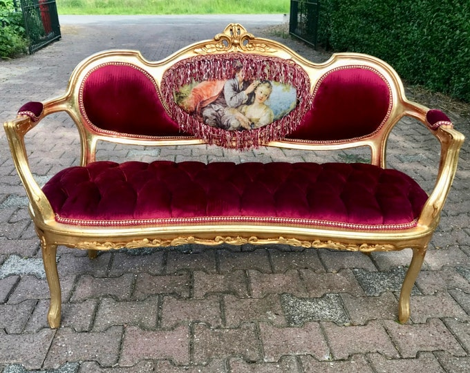 Featured listing image: French Marquise French Vintage Furniture Tufted Sofa French Tufted Settee Refinish New Fabric Interior Design