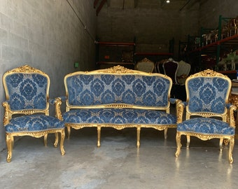 French Furniture French Vintage Chair Blue Damask 3 Piece Set Available Vintage Furniture New Fabric Baroque Furniture Rococo French Chair