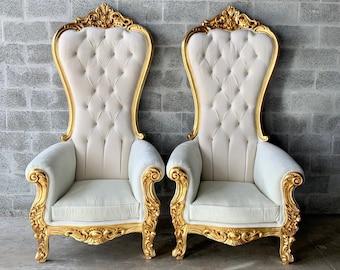 White Throne Chair White Velvet *2 LEFT* French Chair Throne Chair Tufted Gold Throne Chair Rococo Interior Design Furniture Vintage Chair