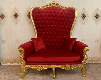 French Large Reproduction Chair Red velvet Tufted Chair Throne Chair High-Back Reproduction Gold Chair Tufted French Interior Design