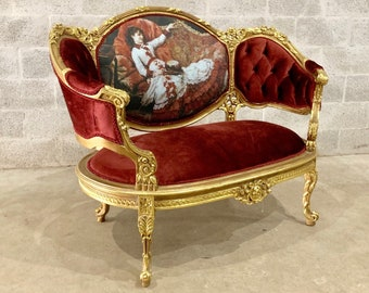 French Chair Louis XVI Corbeille *1 Availa* 2-Person Chair Tufted Red Chair French Tufted Chair Refinish Gold Leaf New Padding tufted Fabric