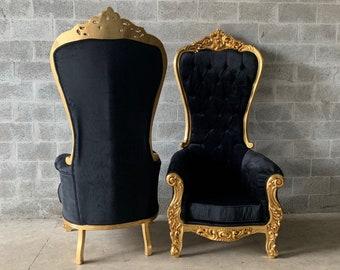 Black Throne Chair Black Velvet Chair *2 Available* French Chair Throne Black Velvet Chair Tufted Gold Throne Chair Rococo Interior Design