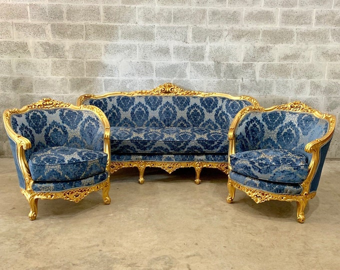 Featured listing image: French Furniture French Vintage Chair *3 Piece Set* Antique Furniture New Upholstery Interior Design Baroque Furniture Rococo French Chair