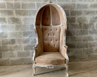 French Balloon Chair Champagne Velvet Throne Chair *1 Available High-Back Reproduction Silver Chair Tufted Upholstery French Interior Design