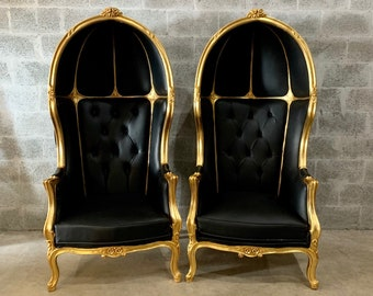 French Balloon Chair Throne Chair *2 Available* Reproduction Black Leather Chair Tufted Gold Frame French Rococo Interior Design
