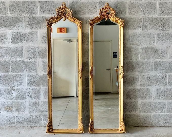 "Featured listing image: Baroque Mirror *Only 1 Left* Antique Mirror Rococo Gold Leaf 70"" Tall French Mirror Floor Mirror Interior Design Furniture Vintage Mirror"