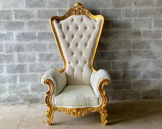 """Featured listing image: Italian Baroque Throne Chair HighBack 74""""H Silver Chair Tufted *1 Left* Cream Off-white Velvet French Rococo Interior Design"""