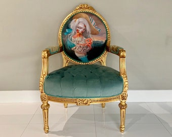 SOLD* SCOPE Miami Beach Original Piece Displayed during Art Show French Chair Vintage Furniture w/ Nataly #Kukula Art Tufted Chair