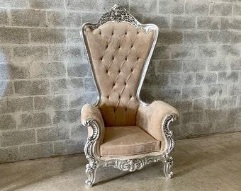 "Italian Baroque Throne Chair HighBack 74""H Silver Chair Tufted *1 Left* Beige Cream Beige Velvet French Rococo Interior Design"