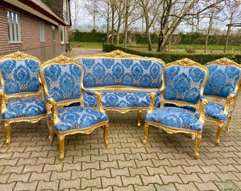 French Furniture French Vintage Chair Blue Damask 5 Piece Set Available Vintage Furniture New Fabric Baroque Furniture Rococo French Chair
