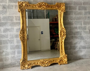 "French Mirror Gold Interior Design Baroque Mirror French Furniture 7.5'H x 5.5'W x 5.5""D Heavy Big Mirror Rococo Gold Mirror"