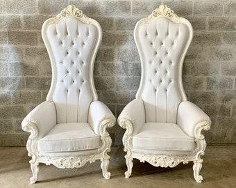 White Throne Chair White Leather Chair *2 Available French Chair Throne White Leather Chair Tufted White Throne Chair Rococo Interior Design