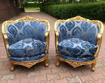French Chairs Blue Chair French Marquise 3 Piece Set Available Corbeille Chair French Furniture Vintage Chair Baroque Furniture Rococo Chair