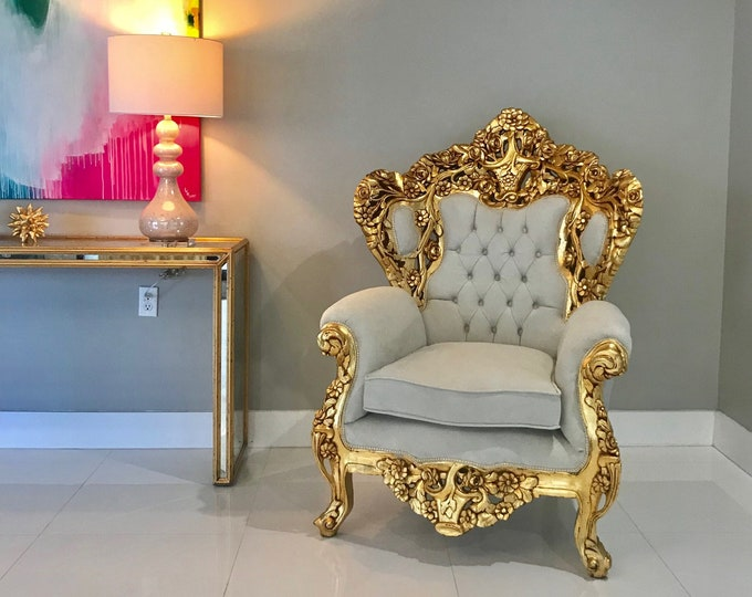 Featured listing image: Baroque Throne Chair *2 Available* Rococo Tufted Chair French Tufted Chair Baroque Chair Furniture Rococo Chair Antique Off White Velvet