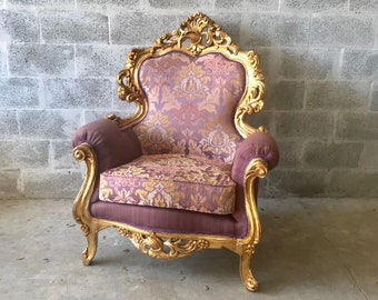 Rococo Furniture Bergere Chair Antique Italian Throne *2 Chairs Avail* Gold Leaf Purple Lavender Damask Baroque Furniture Rococo Louis XVI