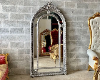 "French Floor Mirror Silver Vintage Mirror French Furniture 85""H x 44.5""W French Louis XVI Rococo Baroque Antique Furniture Vintage Furniture"