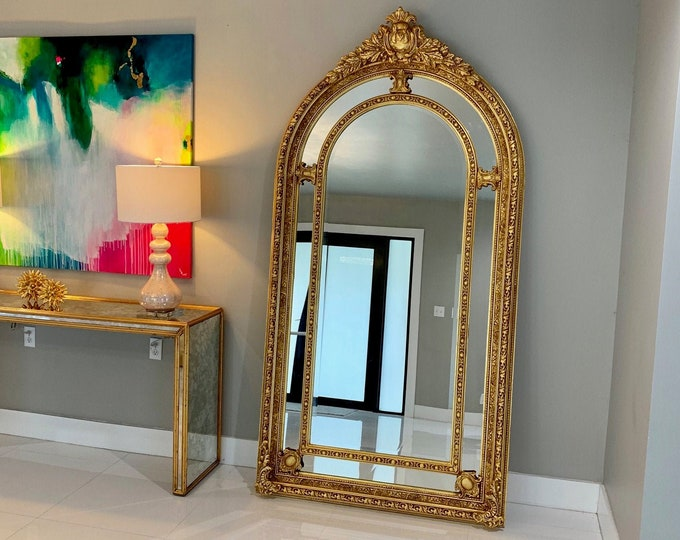 """Featured listing image: French Mirror Gold Antique Curved Mirror French Furniture 87""""H x 47""""W Floor Mirror Rococo Baroque Furniture Gold Vintage Mirror"""