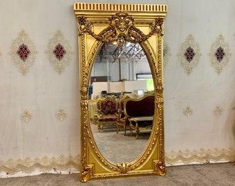 "Baroque Mirror Vintage Mirror Rococo Gold Leaf 78.5"" Tall French Mirror Floor Mirror Interior Design Furniture Vintage Mirror"