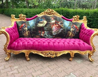 SOLD* French Sofa French Louis XVI Furniture Vintage Settee Interior Design Pink Tufted Sofa Baroque Furniture Rococo