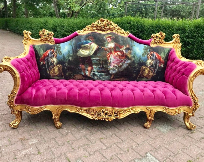 Featured listing image: SOLD* French Sofa French Louis XVI Furniture Vintage Settee Interior Design Pink Tufted Sofa Baroque Furniture Rococo