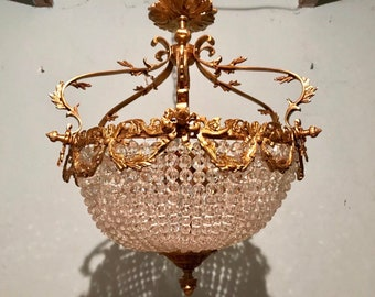 "Crystal Chandelier 24""H x 20"" Diameter French Basket French Chandelier Gilded Bronze Empire Bowl Interior Design"